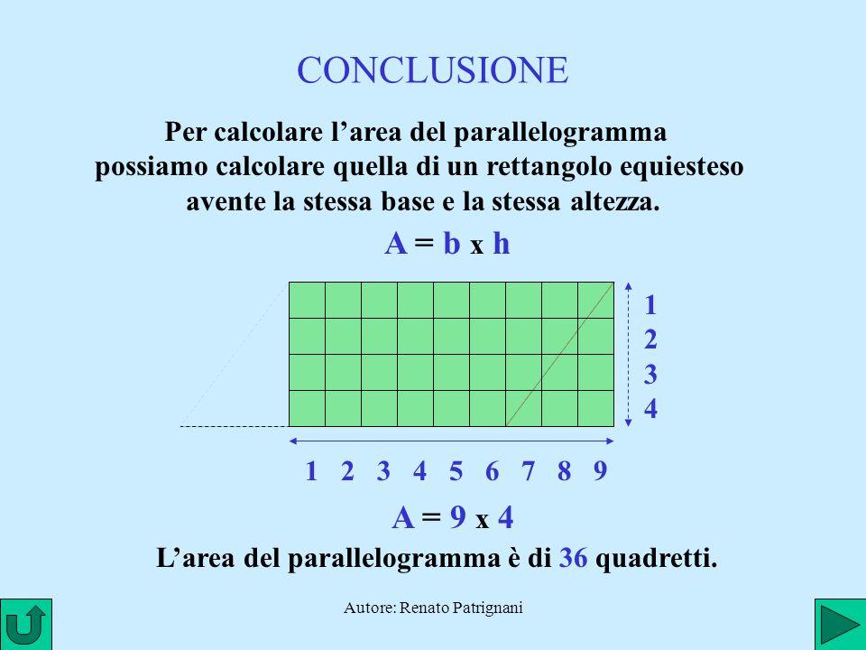 L'area del parallelogramma è di 36 quadretti.