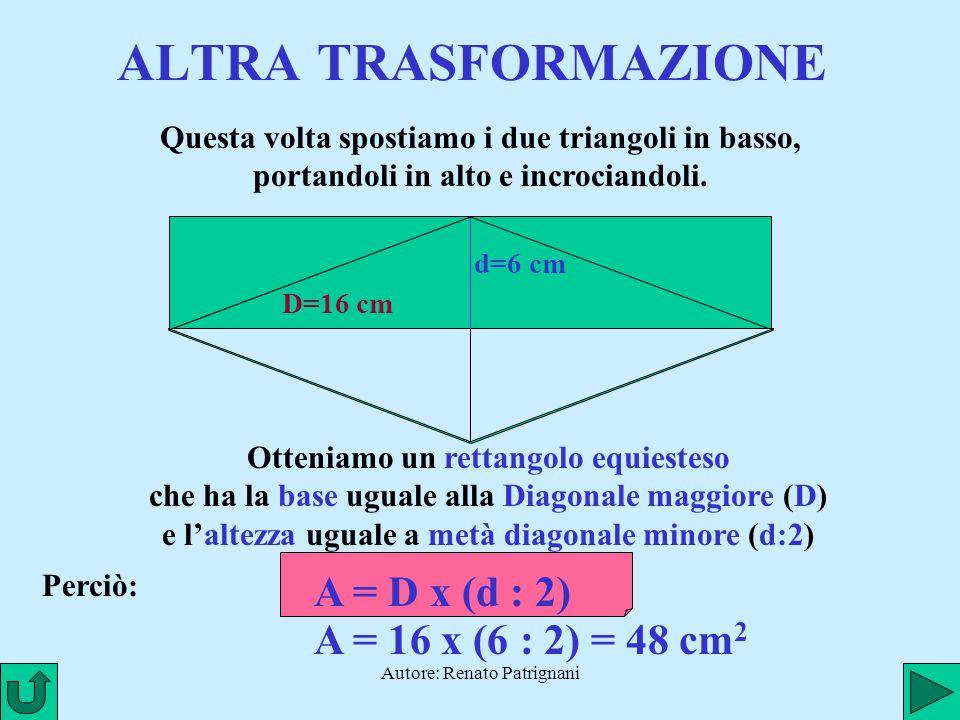 ALTRA TRASFORMAZIONE A = D x (d : 2) A = 16 x (6 : 2) = 48 cm2