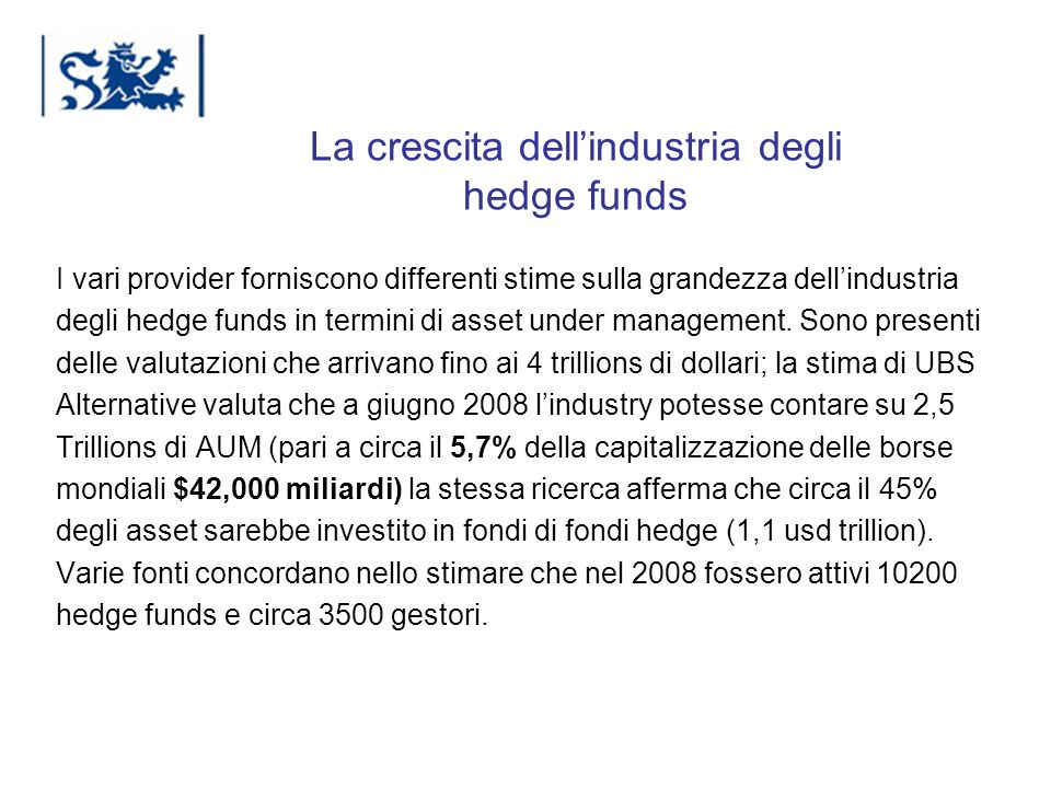 La crescita dell'industria degli hedge funds