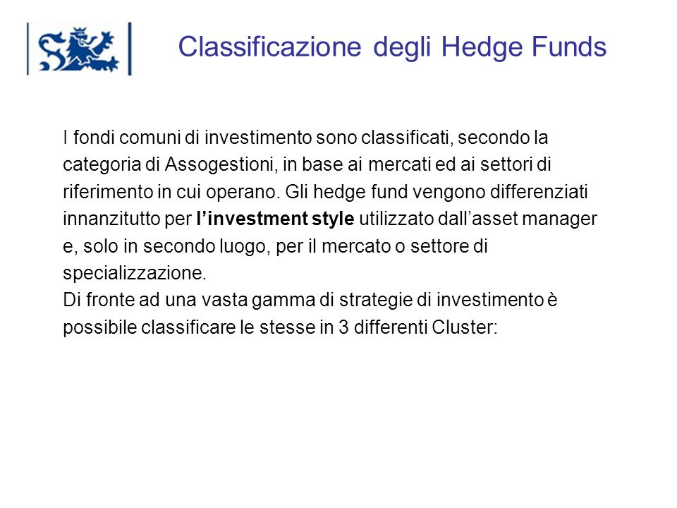 Classificazione degli Hedge Funds