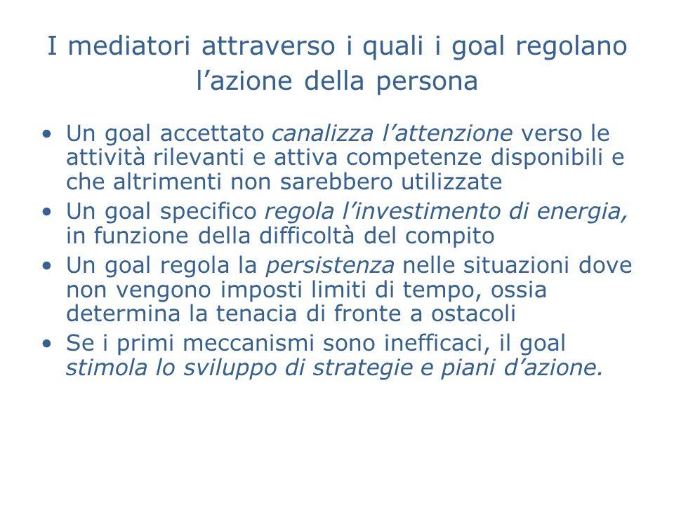 I mediatori attraverso i quali i goal regolano l'azione della persona