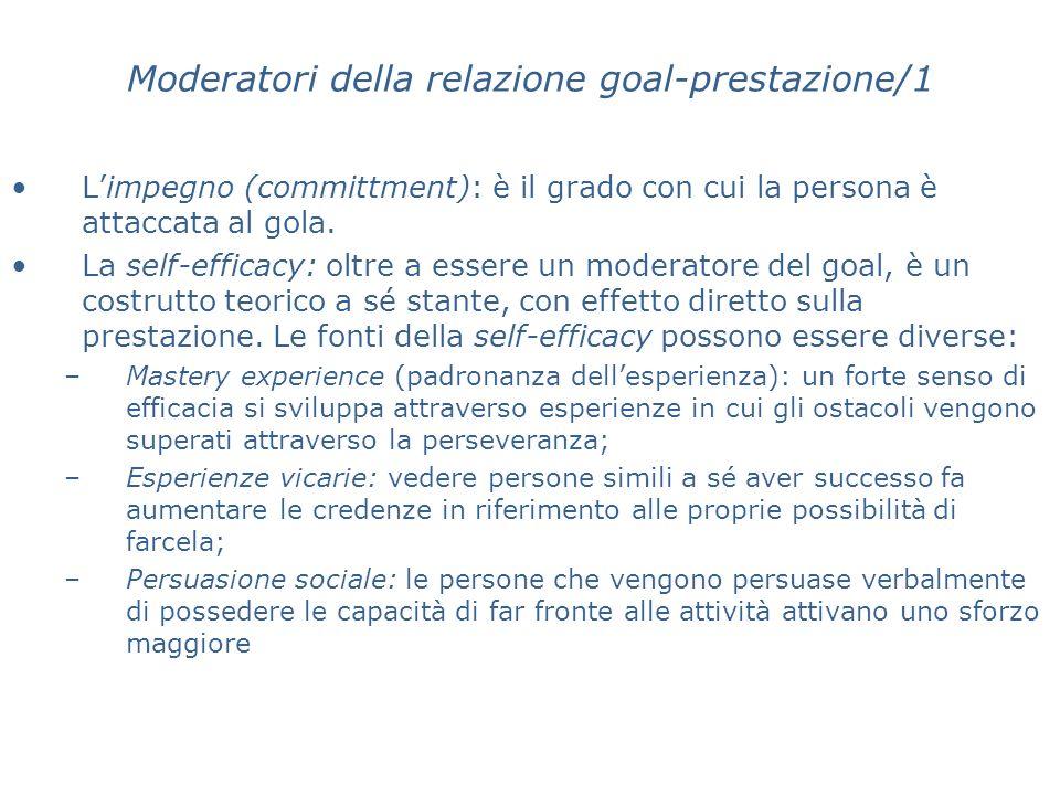 Moderatori della relazione goal-prestazione/1