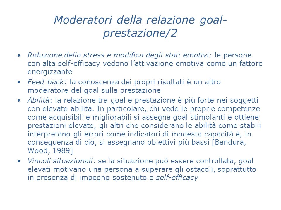 Moderatori della relazione goal-prestazione/2