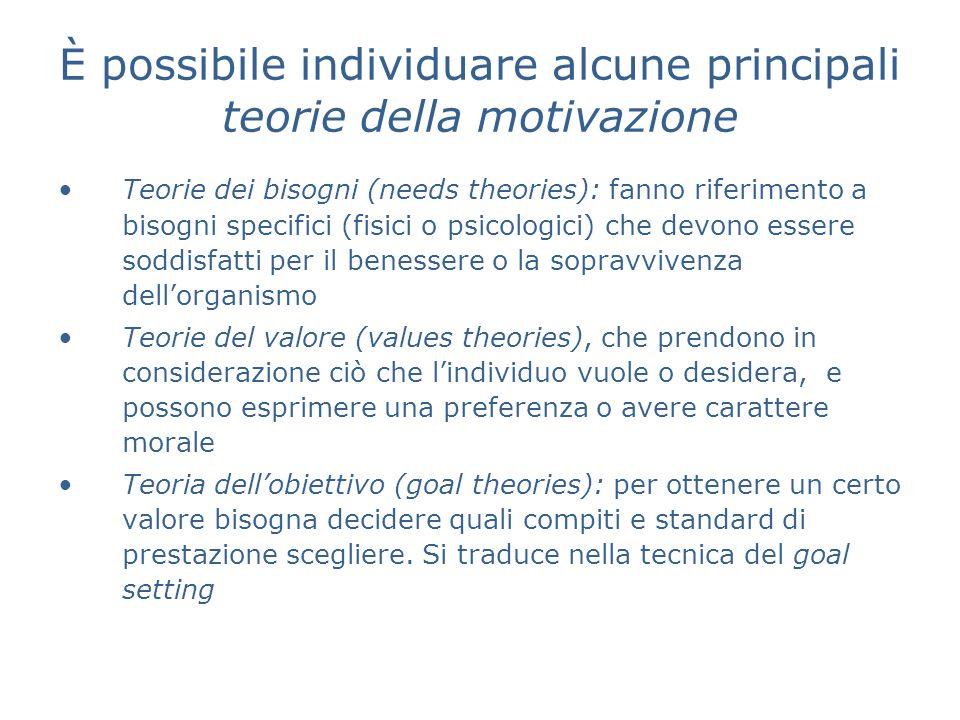 È possibile individuare alcune principali teorie della motivazione