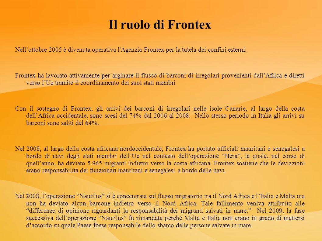 Il ruolo di FrontexNell'ottobre 2005 è divenuta operativa l Agenzia Frontex per la tutela dei confini esterni.