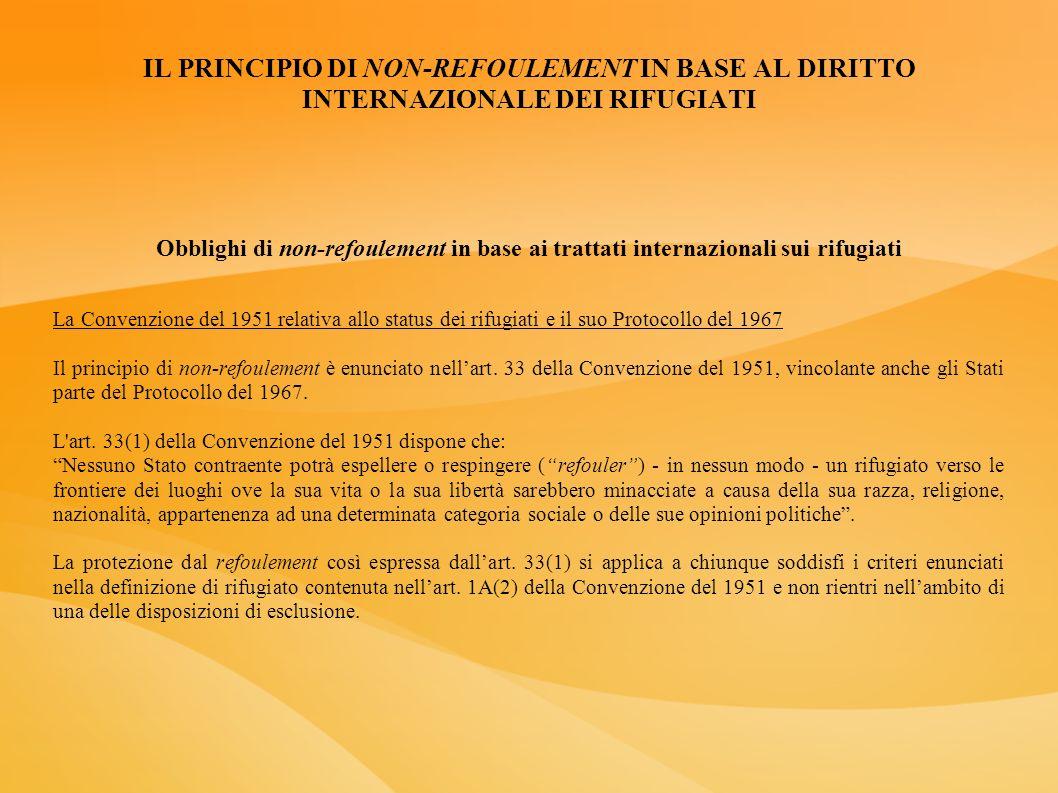 IL PRINCIPIO DI NON-REFOULEMENT IN BASE AL DIRITTO INTERNAZIONALE DEI RIFUGIATI