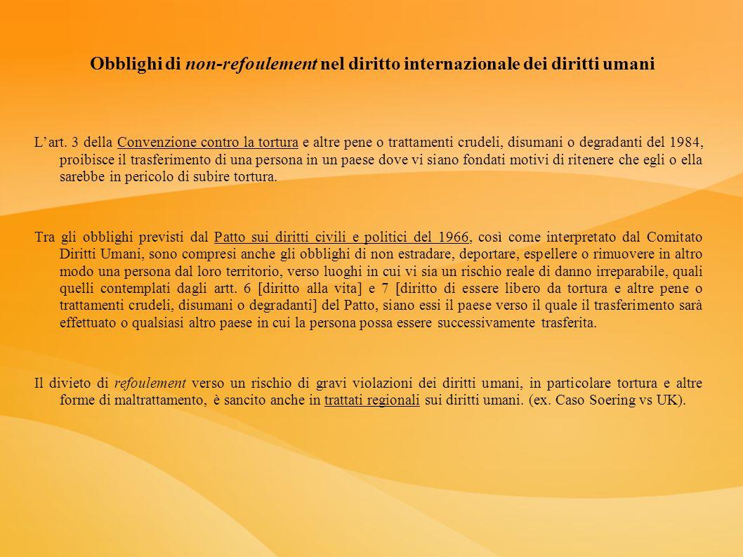 Obblighi di non-refoulement nel diritto internazionale dei diritti umani