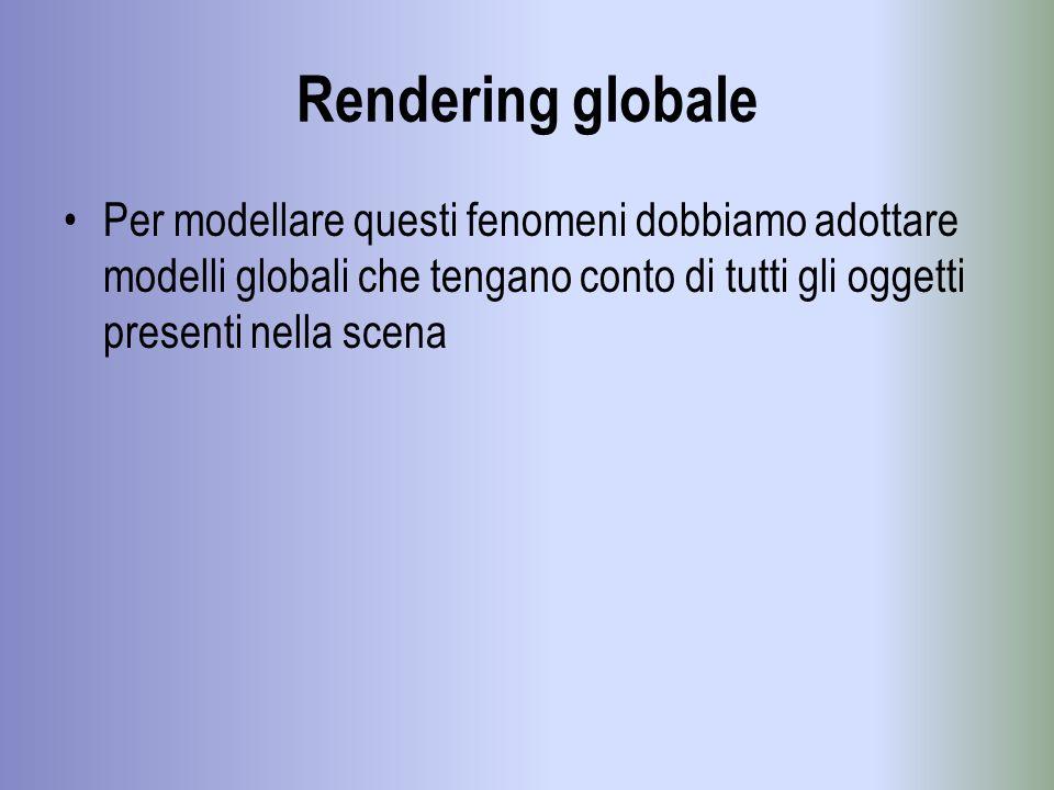 Rendering globale Per modellare questi fenomeni dobbiamo adottare modelli globali che tengano conto di tutti gli oggetti presenti nella scena.