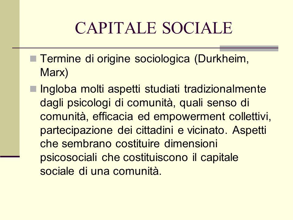 CAPITALE SOCIALE Termine di origine sociologica (Durkheim, Marx)