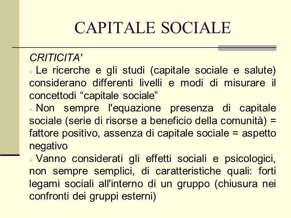 CAPITALE SOCIALE CRITICITA