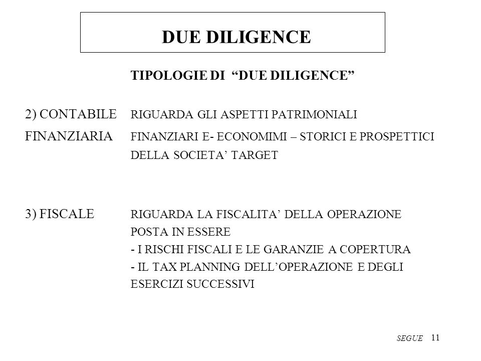 TIPOLOGIE DI DUE DILIGENCE