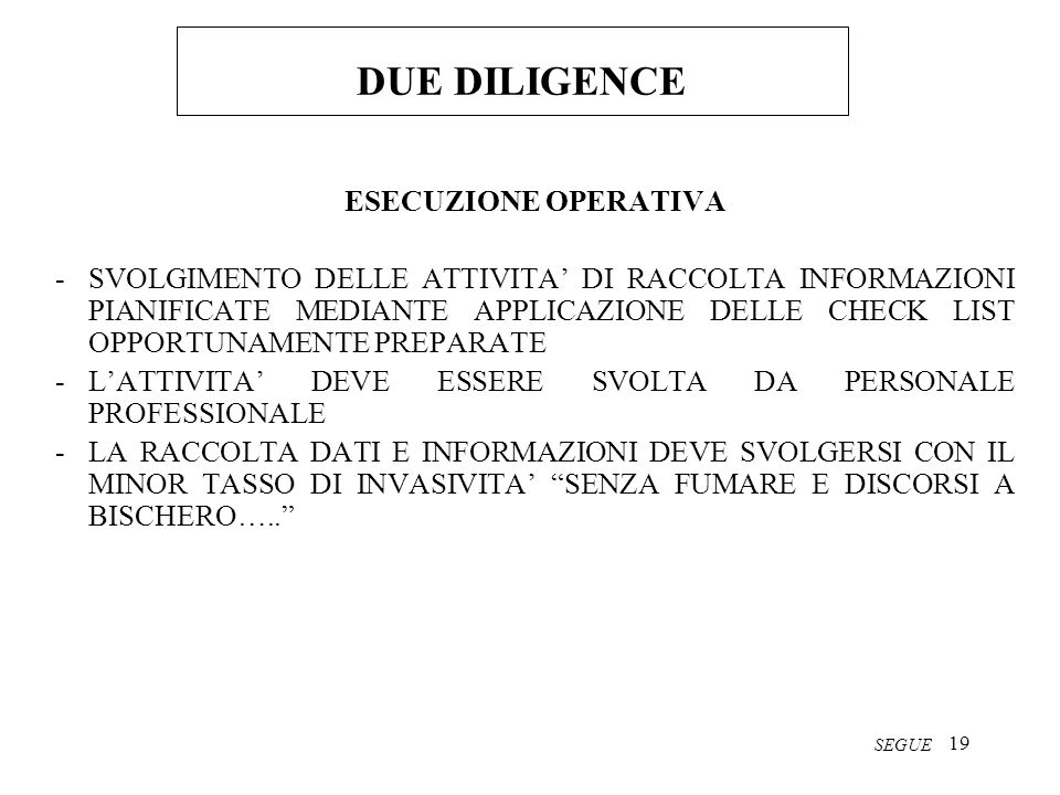 DUE DILIGENCE ESECUZIONE OPERATIVA