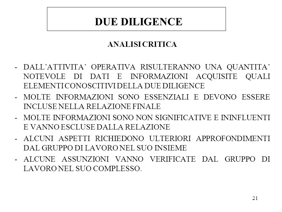 DUE DILIGENCE ANALISI CRITICA