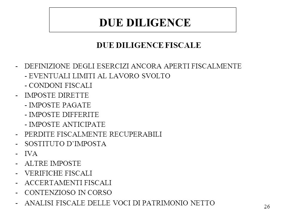 DUE DILIGENCE DUE DILIGENCE FISCALE