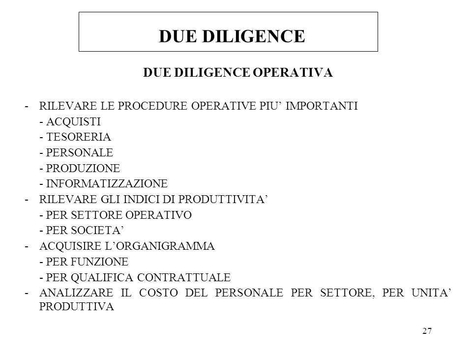 DUE DILIGENCE OPERATIVA