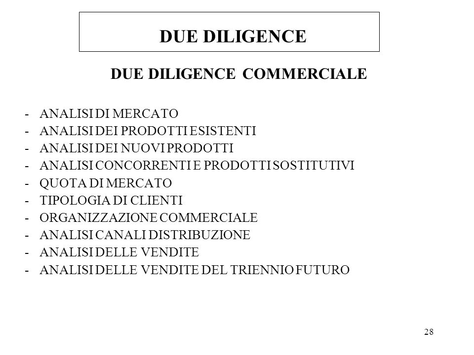 DUE DILIGENCE COMMERCIALE