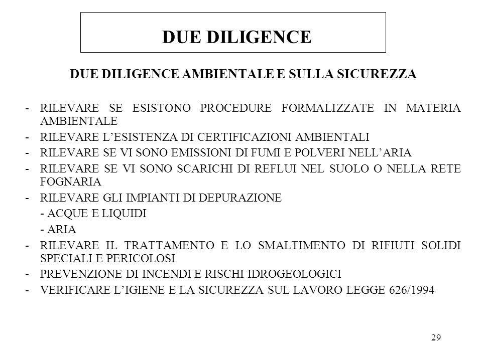 DUE DILIGENCE AMBIENTALE E SULLA SICUREZZA