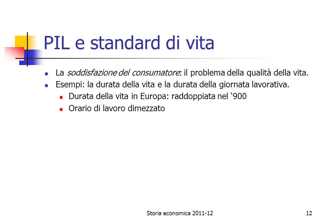 PIL e standard di vita La soddisfazione del consumatore: il problema della qualità della vita.