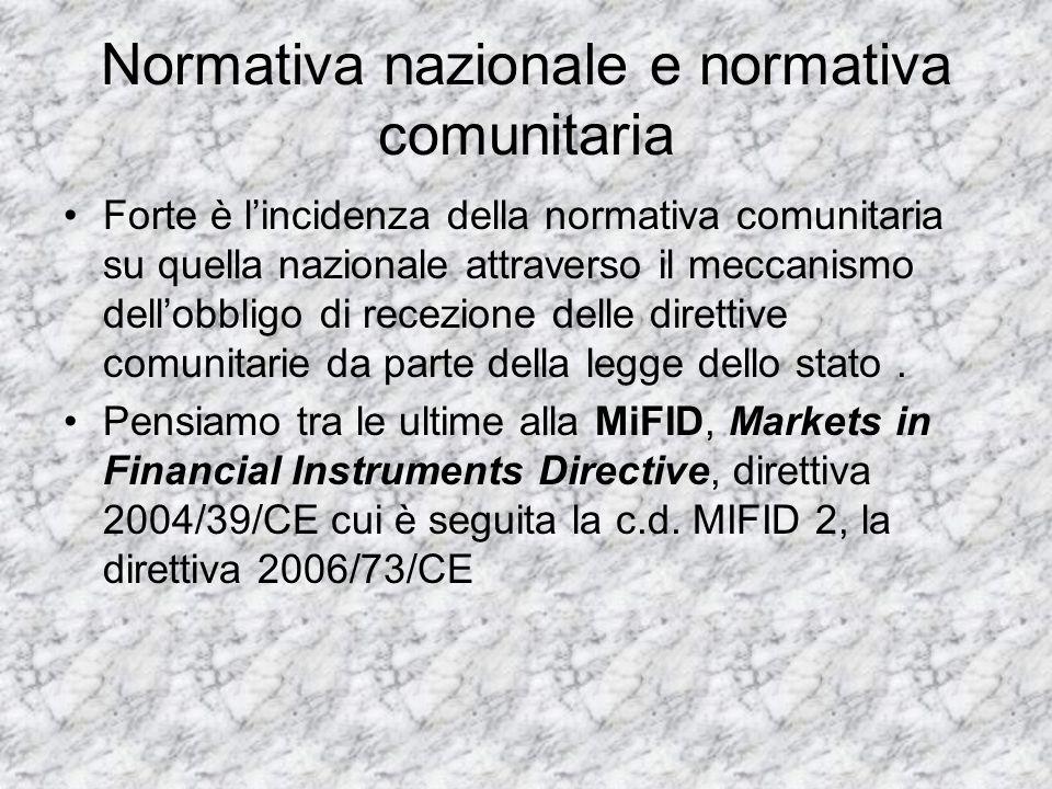 Normativa nazionale e normativa comunitaria