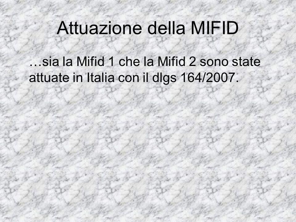 Attuazione della MIFID