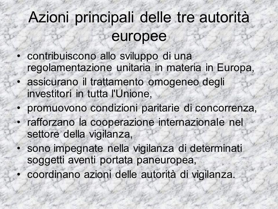 Azioni principali delle tre autorità europee