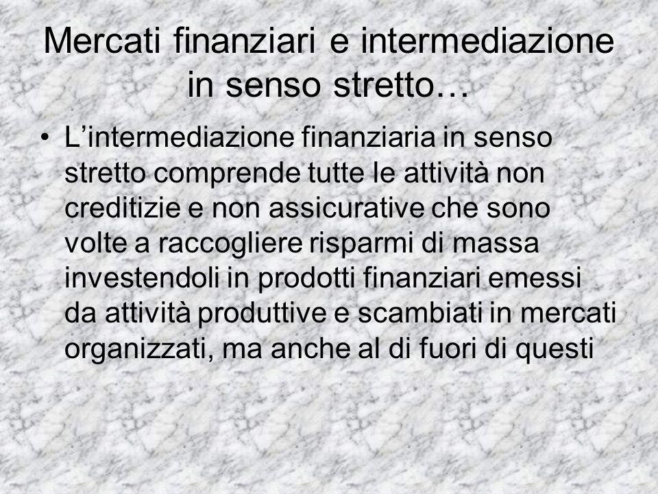 Mercati finanziari e intermediazione in senso stretto…