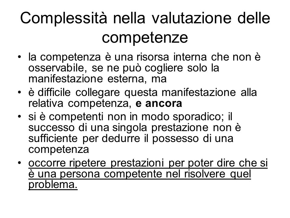 Complessità nella valutazione delle competenze