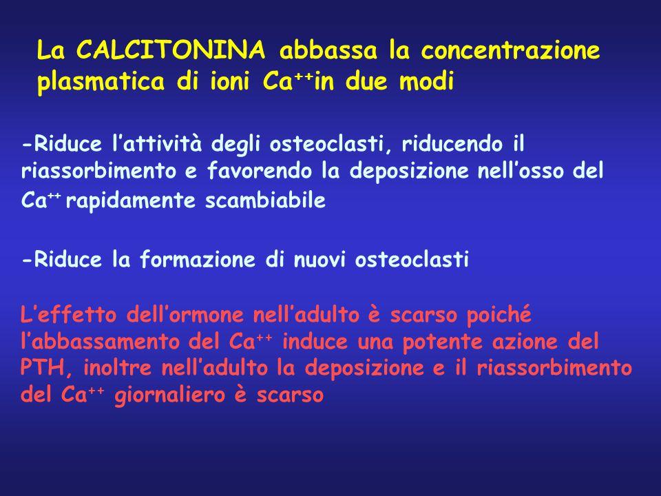 La CALCITONINA abbassa la concentrazione plasmatica di ioni Ca++in due modi