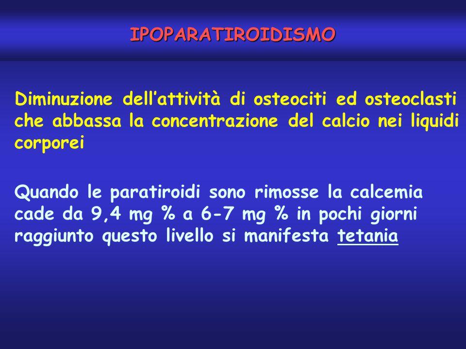 IPOPARATIROIDISMO Diminuzione dell'attività di osteociti ed osteoclasti che abbassa la concentrazione del calcio nei liquidi corporei.