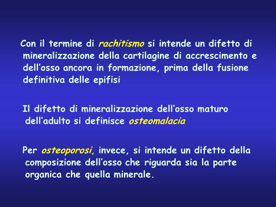 Con il termine di rachitismo si intende un difetto di mineralizzazione della cartilagine di accrescimento e dell'osso ancora in formazione, prima della fusione definitiva delle epifisi