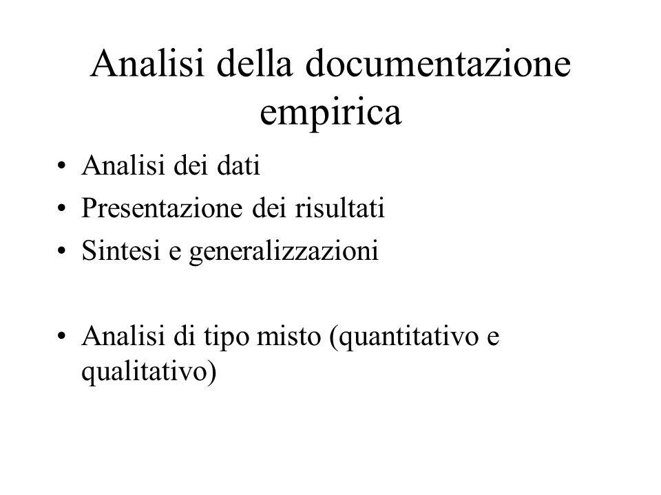 Analisi della documentazione empirica