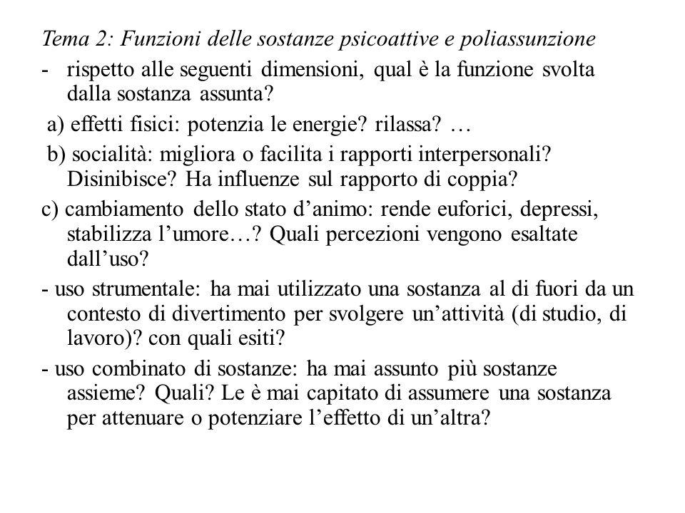 Tema 2: Funzioni delle sostanze psicoattive e poliassunzione