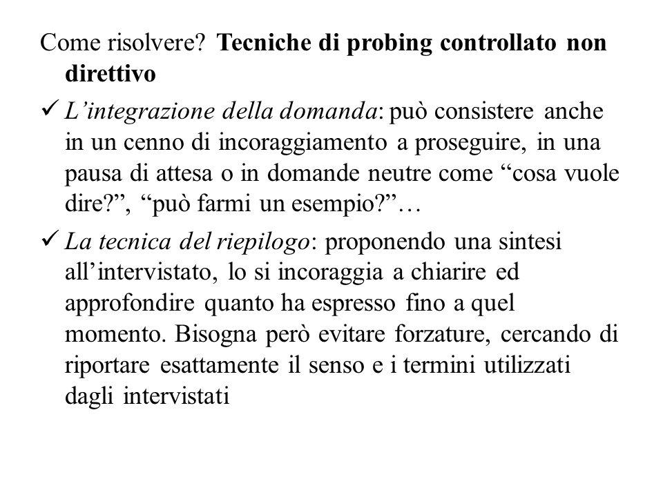 Come risolvere Tecniche di probing controllato non direttivo