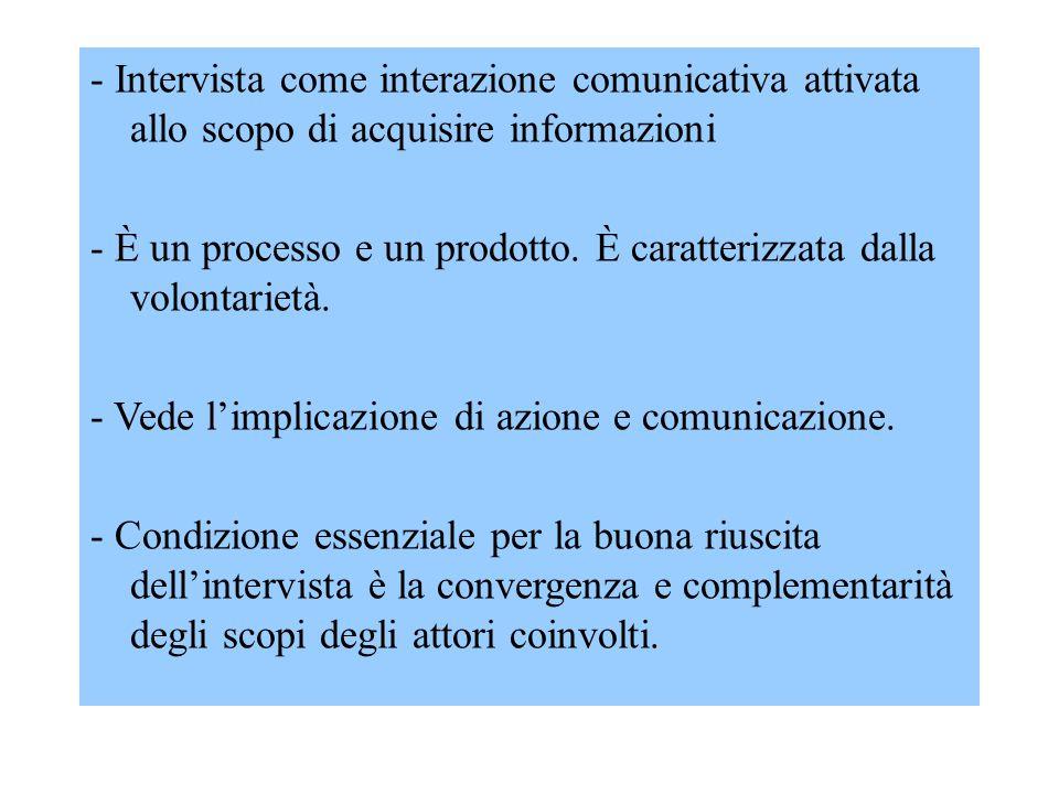 - Intervista come interazione comunicativa attivata allo scopo di acquisire informazioni