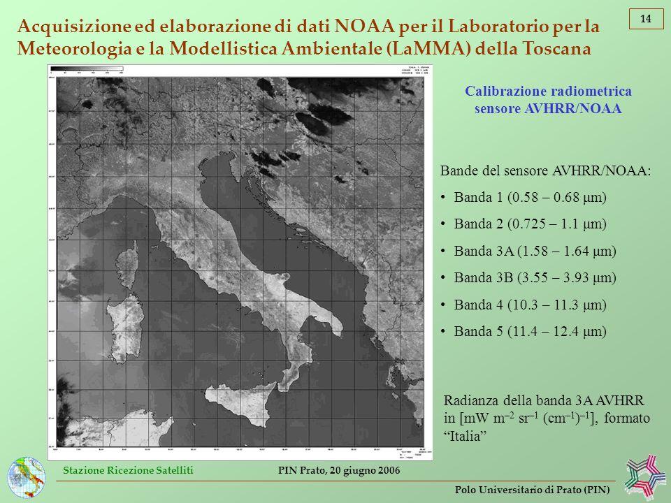 Calibrazione radiometrica sensore AVHRR/NOAA