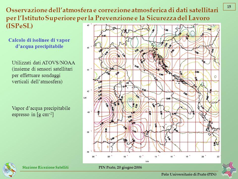 Calcolo di isolinee di vapor d'acqua precipitabile