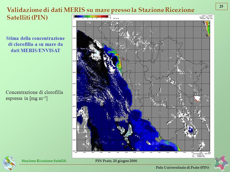 Validazione di dati MERIS su mare presso la Stazione Ricezione Satelliti (PIN)