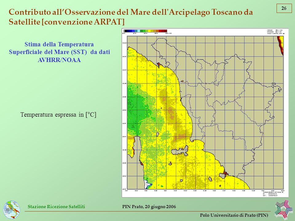 Stima della Temperatura Superficiale del Mare (SST) da dati AVHRR/NOAA