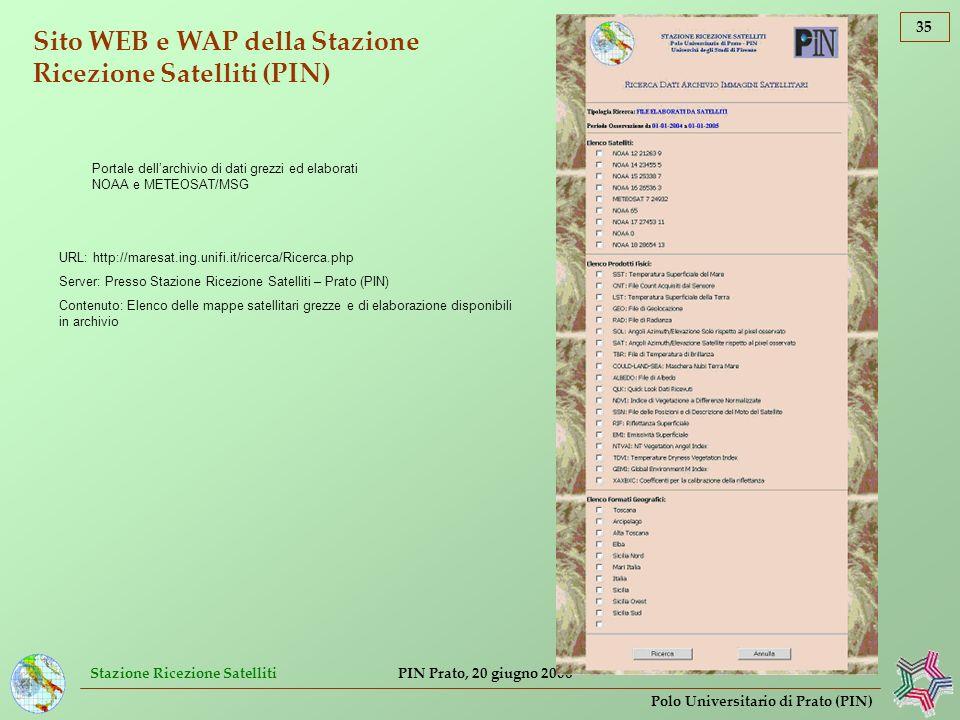Sito WEB e WAP della Stazione Ricezione Satelliti (PIN)