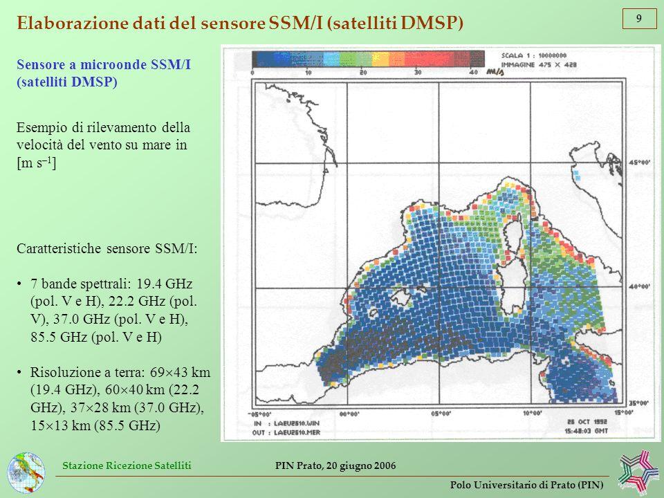 Elaborazione dati del sensore SSM/I (satelliti DMSP)