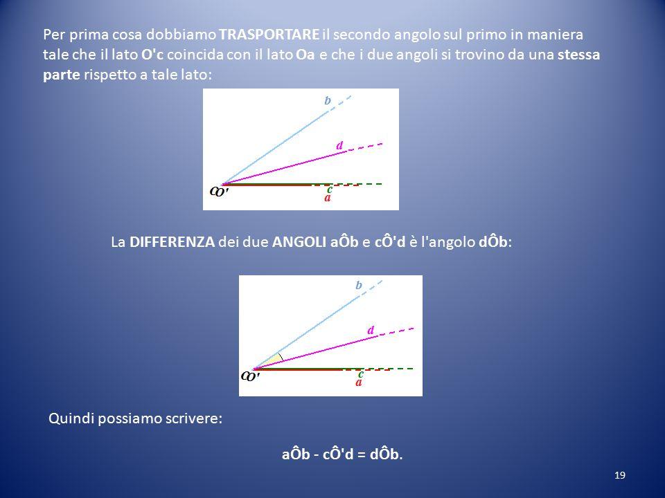 Per prima cosa dobbiamo TRASPORTARE il secondo angolo sul primo in maniera tale che il lato O c coincida con il lato Oa e che i due angoli si trovino da una stessa parte rispetto a tale lato: