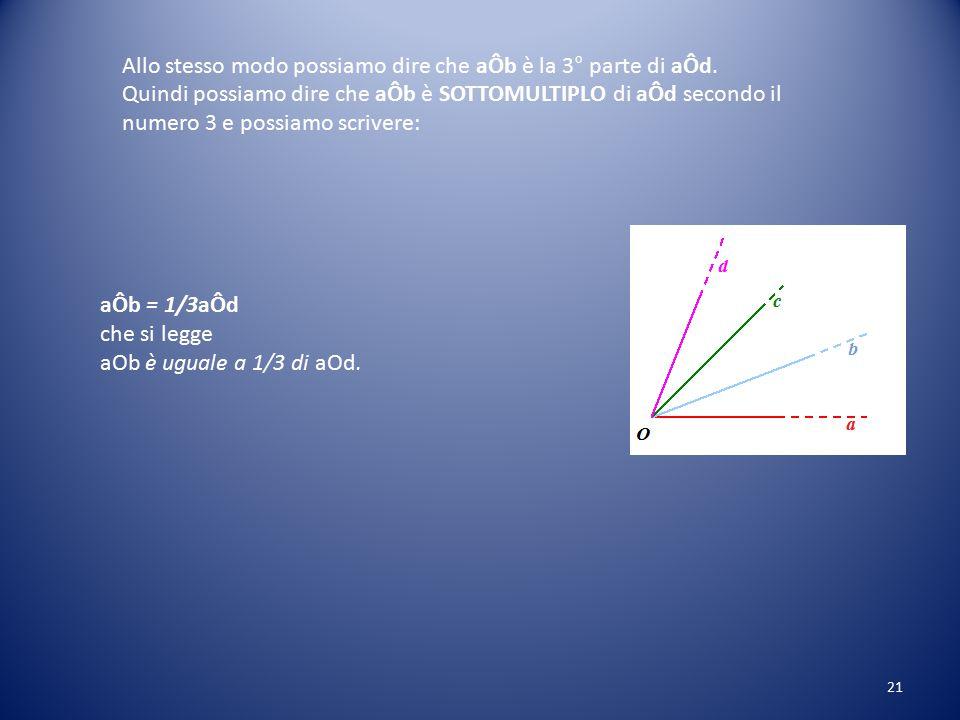Allo stesso modo possiamo dire che aÔb è la 3° parte di aÔd