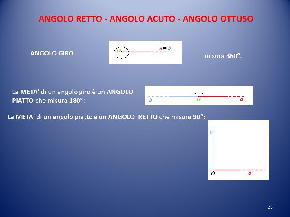 ANGOLO RETTO - ANGOLO ACUTO - ANGOLO OTTUSO