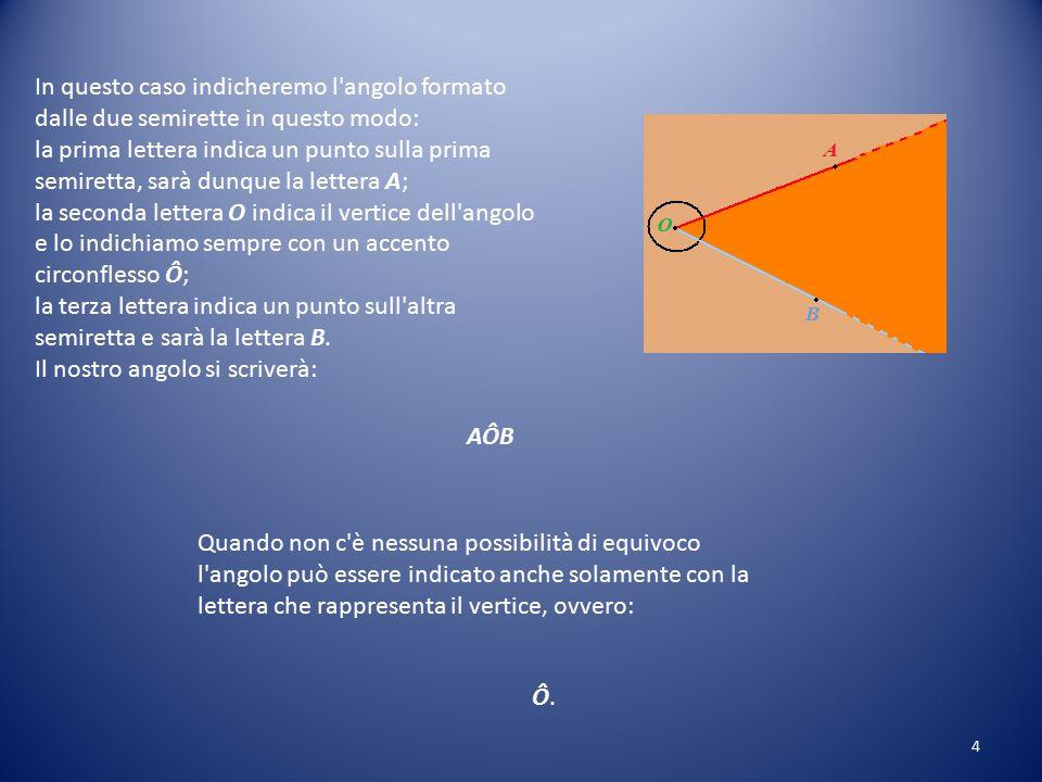 In questo caso indicheremo l angolo formato dalle due semirette in questo modo: