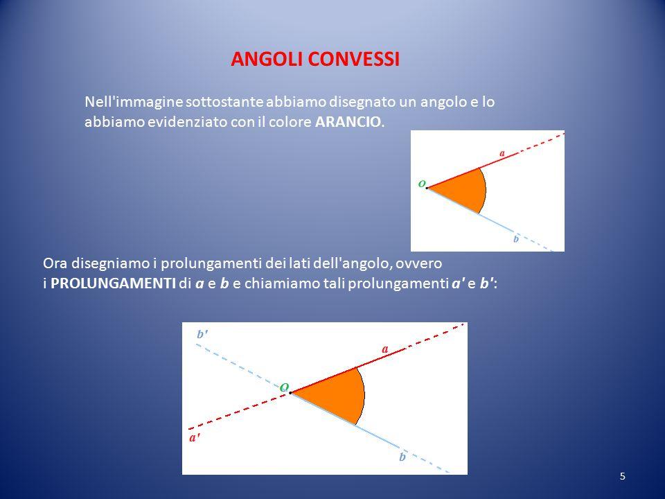ANGOLI CONVESSI Nell immagine sottostante abbiamo disegnato un angolo e lo abbiamo evidenziato con il colore ARANCIO.