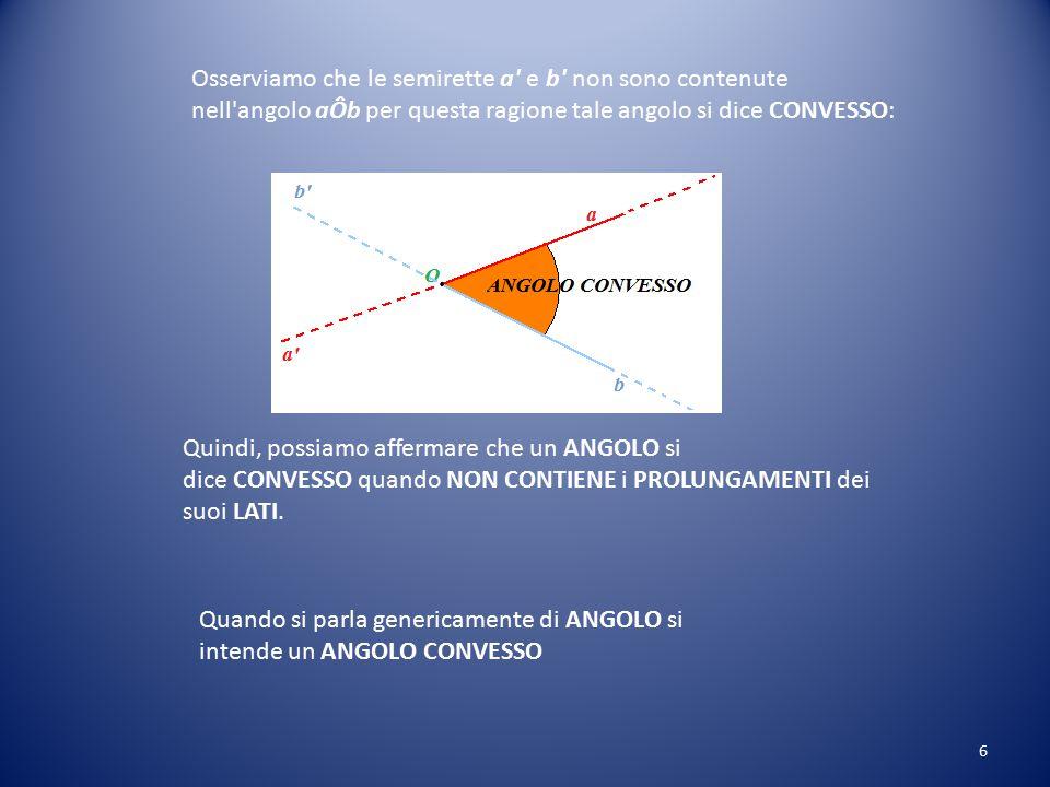 Osserviamo che le semirette a e b non sono contenute nell angolo aÔb per questa ragione tale angolo si dice CONVESSO: