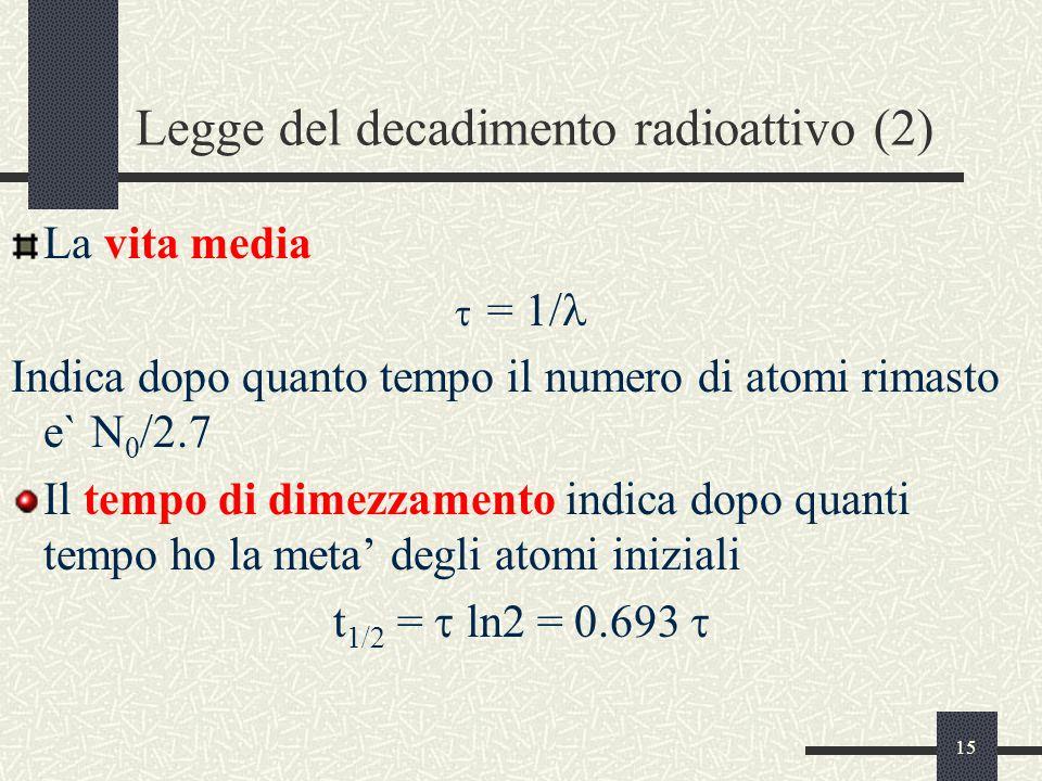Legge del decadimento radioattivo (2)