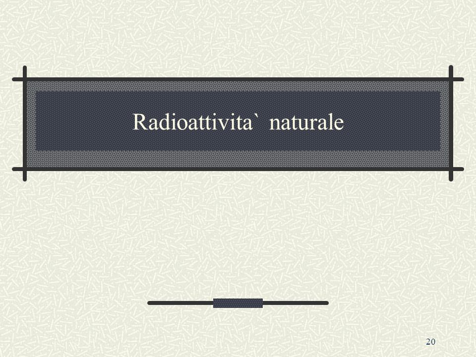 Radioattivita` naturale