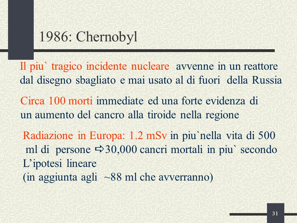 1986: Chernobyl Il piu` tragico incidente nucleare avvenne in un reattore. dal disegno sbagliato e mai usato al di fuori della Russia.