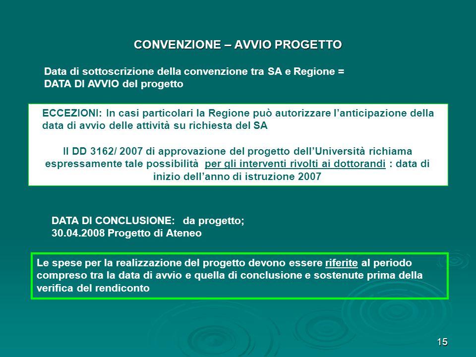 CONVENZIONE – AVVIO PROGETTO